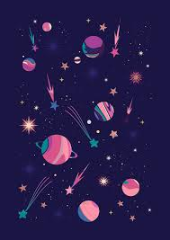 Space Pattern Beauteous Carly Watts Illustration Candy Space Galaxy Stars Comet Marble
