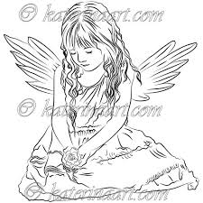 Small Picture Digital Stamp Little Angel Girl Printable Coloring Page