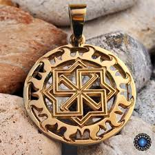 18k gold plated slavic molvinets amulet