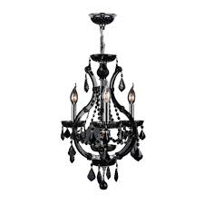worldwide lighting lyre collection 4 light chrome with black crystal chandelier