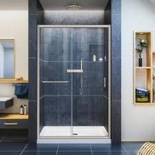 bathroom sliding glass shower doors. DreamLine Infinity-Z 44-in To 48-in W Frameless Brushed Nickel Sliding Bathroom Glass Shower Doors