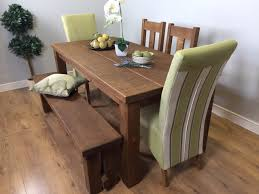 table 2 chairs and bench. the authentic waxed plank dining table with two chairs, upholstered chairs and bench 2