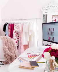 pink office decor. blogger office pink and black white gold decor