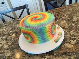 Tie Dye Birthday Cake Designs Airbrushed Tie Dye On Fondant Covered Cake Hippie Birthday