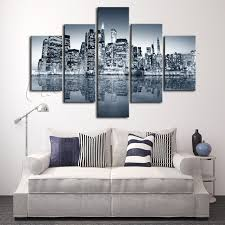 5 pieces oil painting canvas prints landscape new york city home