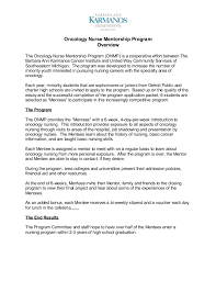 oncology nurse mentorship program oncology nurse mentorship program overview the oncology nurse mentorship program onmp is a cooperative