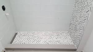 Custom Shower Remodel Glass tile and Marble Chevron Waterfall YouTube