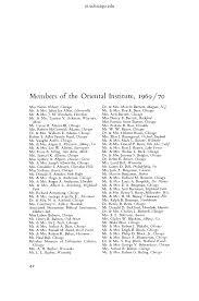 Members of the Oriental Institute, 1969/70
