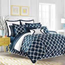 comforter sets navy blue and white geometric pattern comforter set plus throw pillows and beige