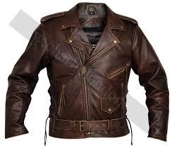 classic men s top grade brown biker motorcycle jacket