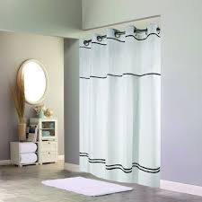 hookless hbh40mys0110sl74 white with black stripe escape shower curtain with chrome raised flex on rings