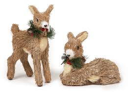 Rustic Christmas Ornaments Premier Rustic Straw Reindeer 25cm And 18cm Christmas Decoration