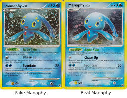 this fake card has a lot wrong with it first look at the m in manaphy it looks like the team magma logo second the poke body is missing the water