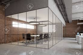 Open Space Office Interior With Brick And Glass Walls A Concrete