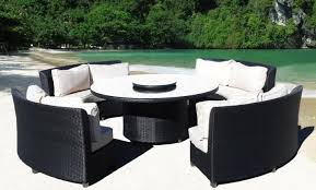 black and canvas cassandra round outdoor wicker dining sofa set las vegas pick up only