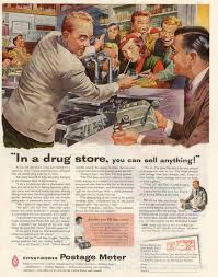 Pitney Bowes Postage Meter Rate Chart The Visual Primer Of Advertising Cliches In A Drug Store