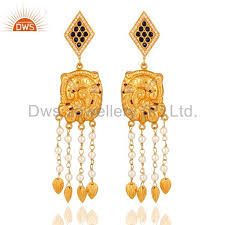 22 k yellow gold plated sterling silver sapphire designer chandelier earrings