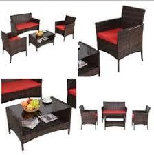 4 pc patio furniture rattan wicker cushioned chair sofa table set outdoor garden chair cushionssofa