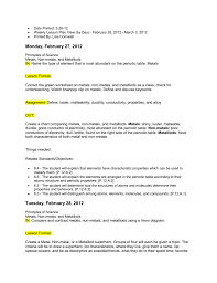 Metals Vs Nonmetals Venn Diagram Date Printed 2 26 12 Weekly Lesson Plan View By Day