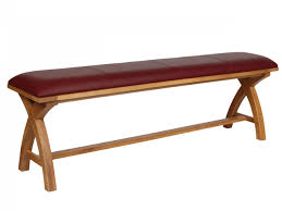 red leather bench  oak bench in red leather