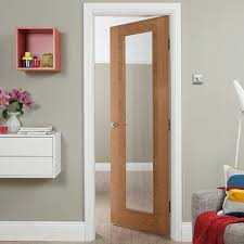 internal white oak fully finished fusion 1l flush heavyweight door with clear glass wokhvssc1