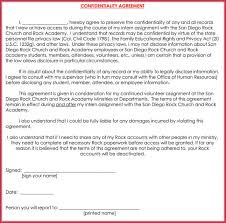 free church confidentiality agreement