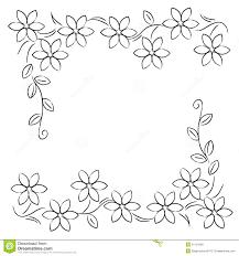 Flower Line Border Black White Stock Illustration