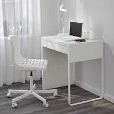 furniture very small white minimalist computer desk for single person and white wheeled chair modern