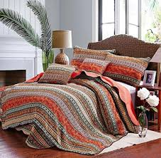 winlife striped summer quilts bohemian style quilt set classical striped patchwork quilt boho bedspread cotton quilted bedding bedding and linens bedroom