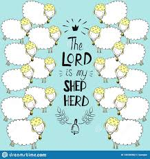 Hand Lettering And Bible Verse The Lord Is My Shepherd With Sheeps