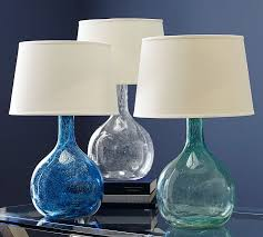 blue glass lamp. Eva Colored Glass Table Lamp Pottery Barn Within Blue Lamps Designs 18