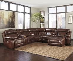 fantastic brown leather sectional recliner sofa with chaise and console for modern apartment living room