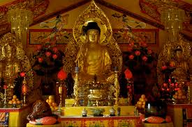 buddhism the project essays image of the buddha on the main altar at tinh xa quan am in seattle