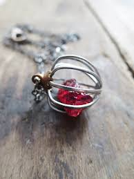 raw stone pendant raw garnet necklace ooak oxidized sterling raw crystal jewelry january birthstone rare earth by amulette