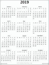 Blank Monthly Calendar 2019 Yearly Printable Calendar 12 Month
