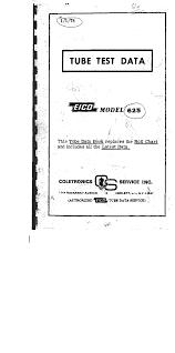 Eico 625 Tube Tester Tube Data Book Service Manual Download