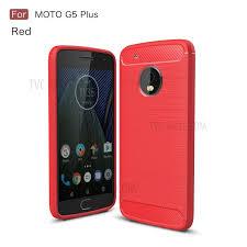 motorola g5 plus case. carbon fiber brushed back case accessory (tpu ) for motorola moto g5 plus - red g