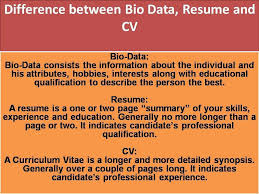Difference Between Bio DataResume And CV Photos Pinterest Beauteous Difference Between Cv And Resume