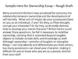 sample intro for ownership essay rough draft ppt video online sample intro for ownership essay rough draft