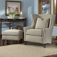 Leather Accent Chair With Ottoman Funiture Grey Fabric Wingback Accent Chair With Cushion And