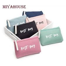 miyahouse letter printed travel makeup bag lady candy color canvas cosmetic bag women zipper makeup bags