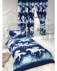stardust unicorn single duvet cover and pillowcase set navy blue