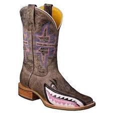 Tin Haul Womens Man Eater Shark Brown Cowgirl Western Cowboy Boots