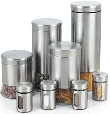 amazoncom cook n home stainless steel canister and spice jar set