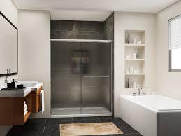 sunny shower 60 w x 72 h semi frameless shower door 1 4 frosted glass panel double sliding shower enclosure brushed nickel com