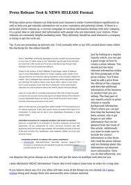 Press Release Test News Release Format By Sabrina Salazar Issuu
