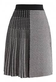 Houndstooth Knitting Pattern Chart Houndstooth Pattern Pleated A Line Knit Skirt