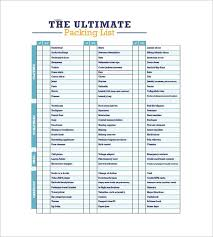 Sample Travel Packing List Packing List Template Free Packing Slip Template For Excel And
