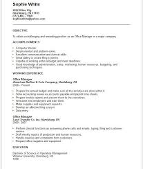 Resume For Office Manager Objective. Resume Templates Operations .