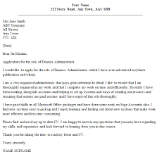 Finance Administrator Cover Letter Example Icover Org Uk